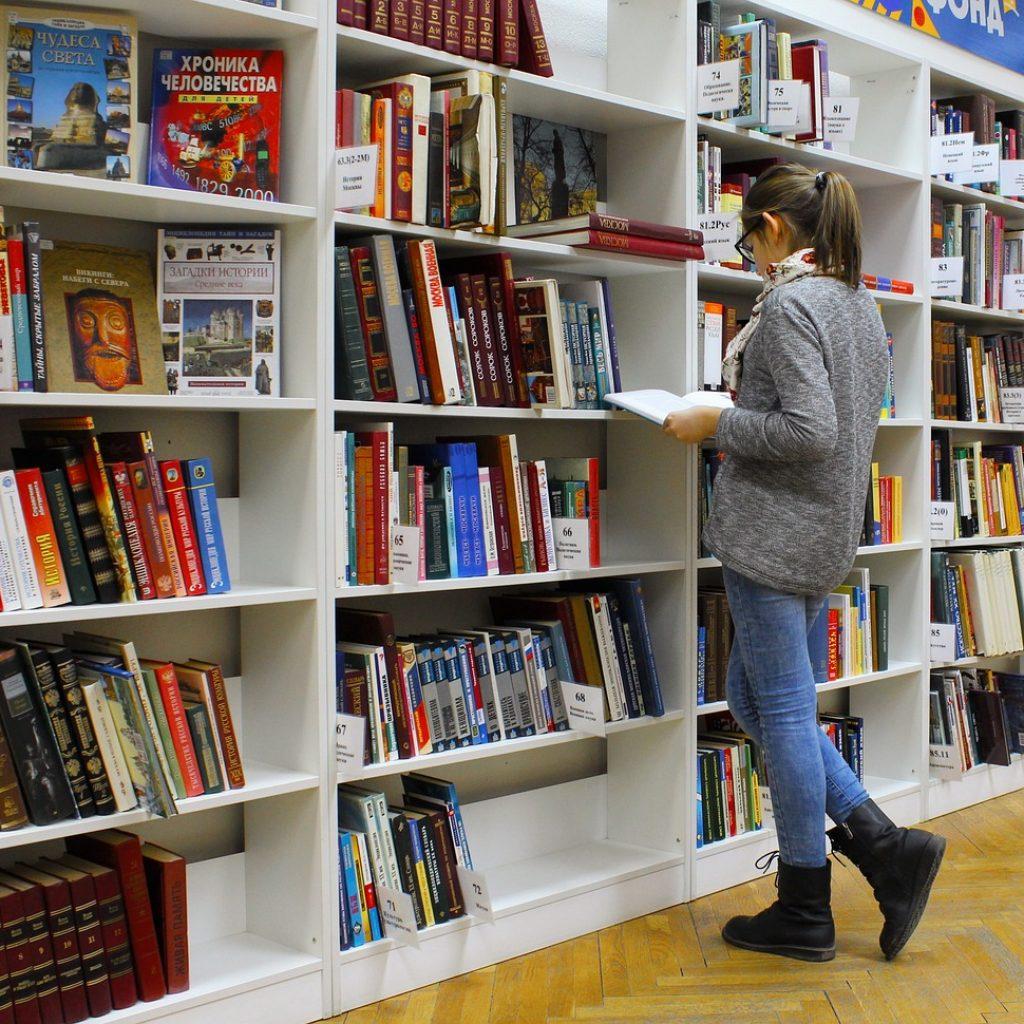 girl, library, books